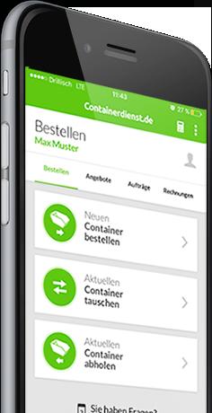 Container in der App bestellen, tauschen oder abholen lassen