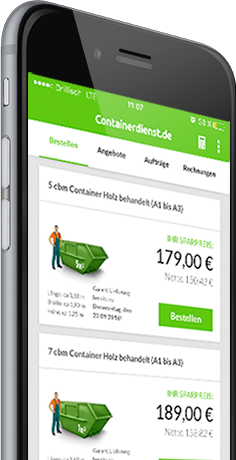 Container in der App auswählen und bestellen