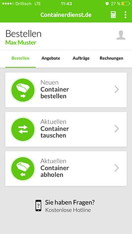 Container per App bestellen, tauschen oder abholen lassen