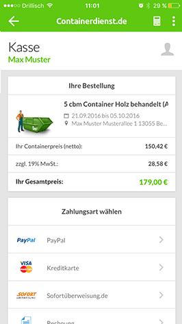 Container in der App bezahlen