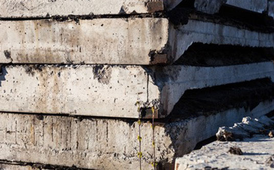 Abfallbeispiel für Betonbruch & Estrich (< 80 cm ohne Eisen)